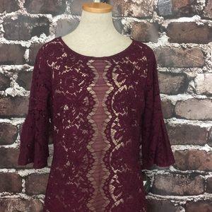 Gabby Skye NEW lace dress bell sleeve wine tan 14